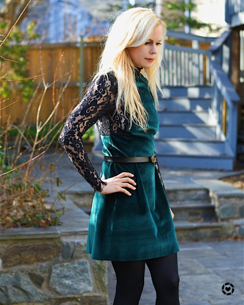 Green Velvet and Lace Dress