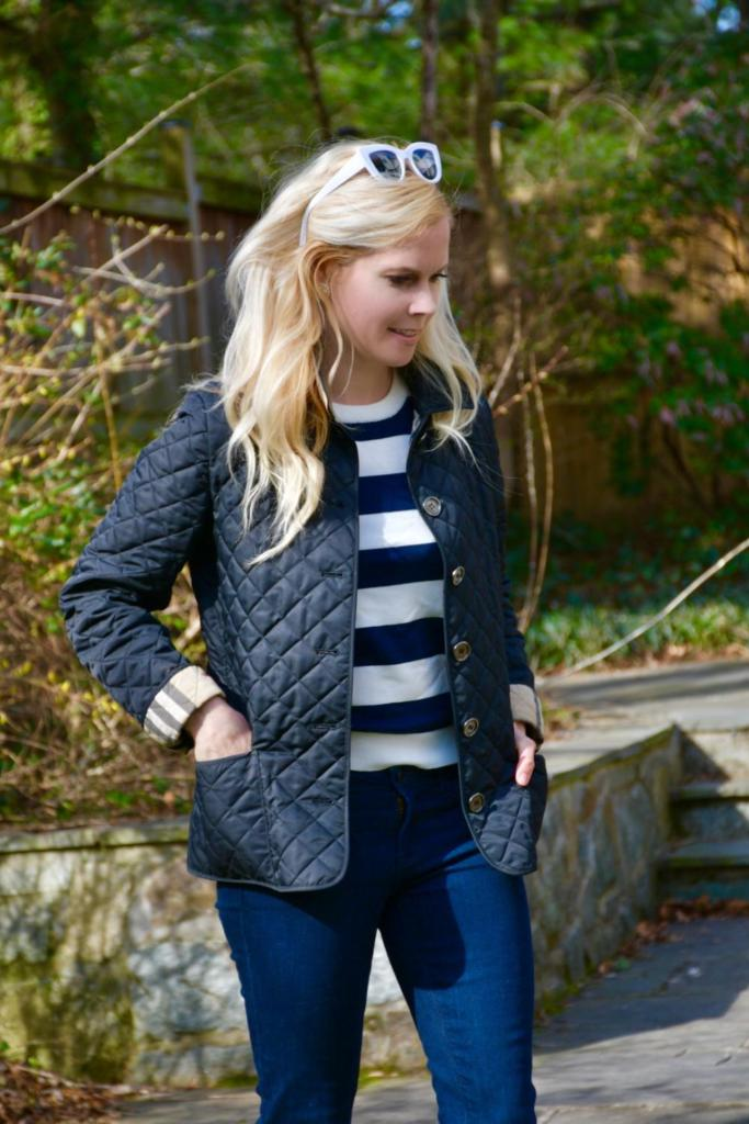 Navy Striped Shirt + Quilted Jacket // 5 Ways We Stay Active as a Family